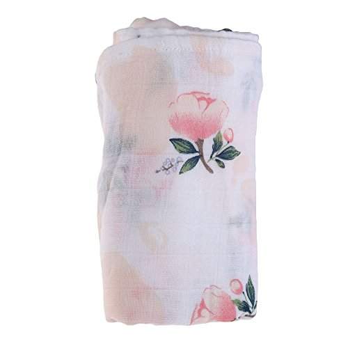 Jiquan Muslin Swaddle Blanket, Bamboo Cotton Baby Swaddle Wrap, Double Layer Nursing Cover for Newborn, Infant and Toddler, 47