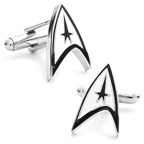 Cufflinks Inc. Men's Star Trek Sheild Cufflink, White/Bla...