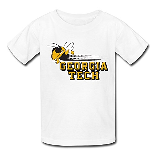 LUYI Kid's Ncaa Ga Georgia Tech Yellow Jackets Logo Tees L White
