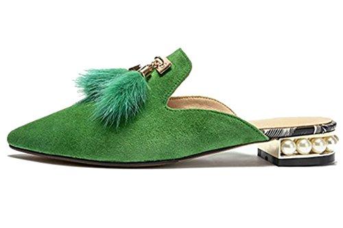 Pantofole Da Donna Di Larosa Morbide Pantofole Muli Di Perle Nappe Scarpe Slip-on Verdi