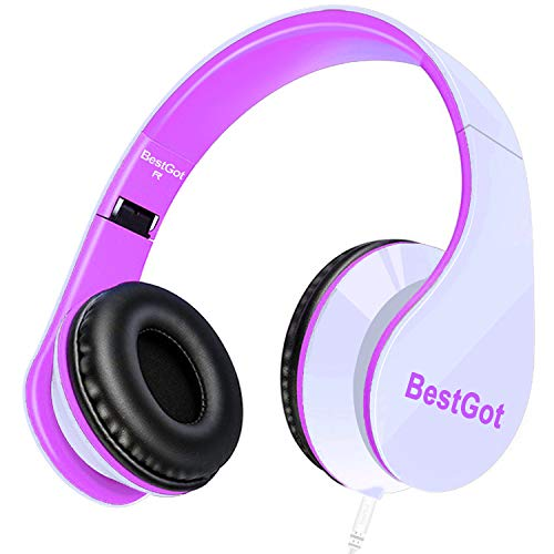 BestGot Kids Headphones Over Ear with Microphone for Girls Adult in-line Volume with Transport Bag Foldable Headphone with 3.5mm Plug Removable Cord (White/Pink)