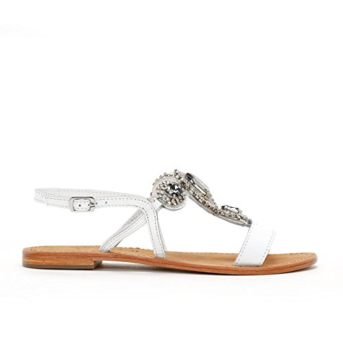 Alesya by Scarpe&Scarpe - Flat Sandals with Gems and Rhinestones, in Leather White