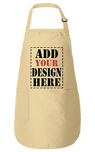 (Personalized Aprons for Women & Men - ADD Your Logo Design Photo Text - Custom Apron with Pockets )