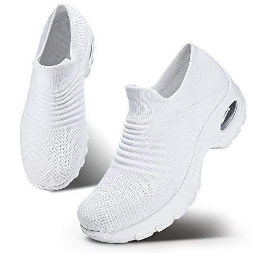 (HKR Womens Comfortable Nursing Work Shoes Slip On Lightweight Platform Walking Sneakers White 8.5(ZJW1839baise40.5) )