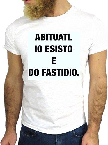 T SHIRT JODE Z1422 ABITUATI ESISTO DO FASTIDIO ITALY STYLE FUN COOL FASHION NICE GGG24 BIANCA - WHITE S