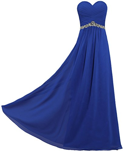 ANTS Women's Strapless Chiffon Long Dresses for Evening Party Size 8 US Royal Blue by ANTS