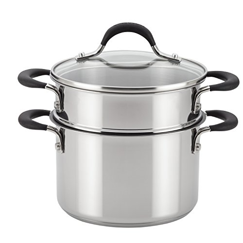 Circulon Momentum Stainless Steel Nonstick Covered Saucepot with Steamer Insert, 3-Quart