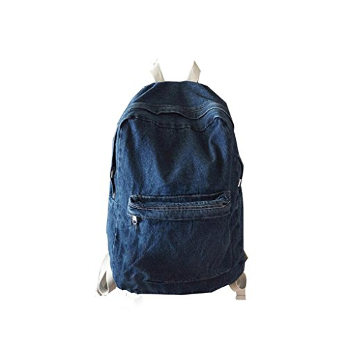 Unisex Vintage Canvas Denim Backpack Travel School Bags (Dark Blue) by Napoo-Bag