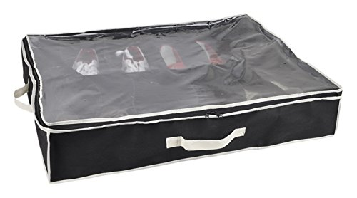 Sunbeam SB30315 12 Pocket Under the Bed Shoe Organizer, Black