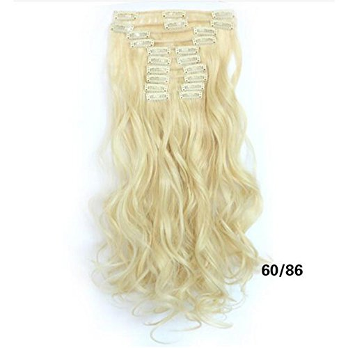 Dongcrystal Long Wavy Curly Hairpiece Full Head 10 Piece 22 Clips in Synthetic Hair Extensions Party Wig for Women