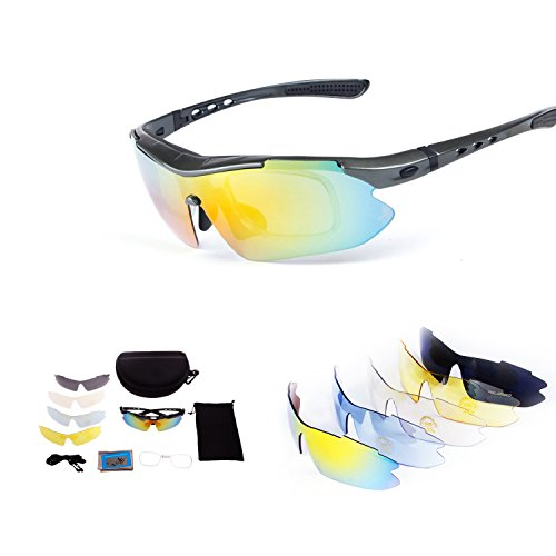Polarized Sports Sunglasses with Tr90 Unbreakable Frame,5 Interchangeable Lenses