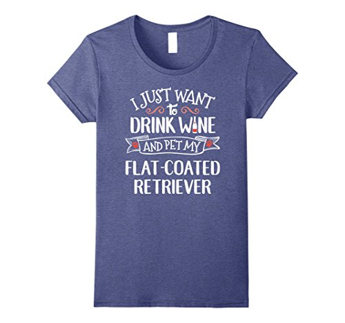 Womens Flat Coated Retriever T-Shirt for Wine Lovers & Dog Owners Medium Heather Blue