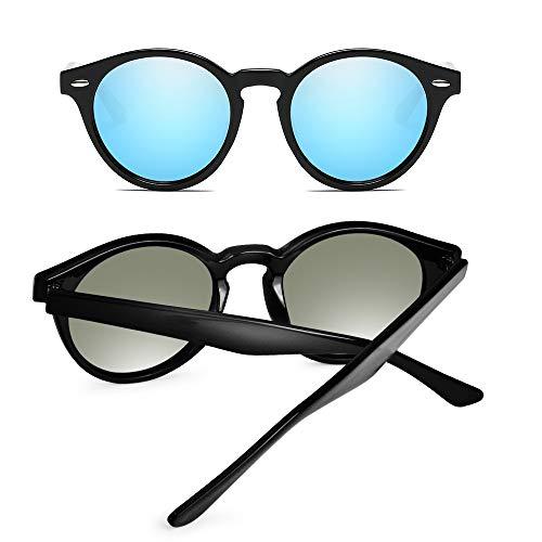 Lunettes Cadre Miroir Brillant Unisex Rétro Amztm Polarisées Ronde Soleil Bleue Noir Classique De Lentille Glace qwECC7z