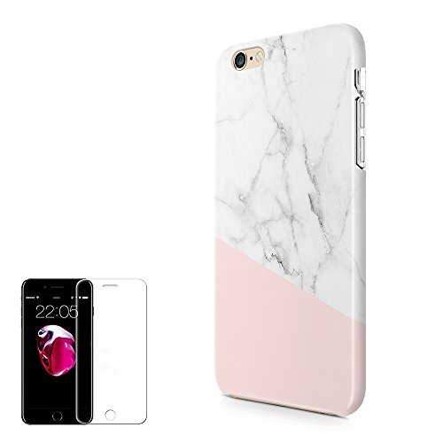 Obbii iPhone 6 Plus/6S Plus Case (5.5 inch) Unique Baby Pink Marble Design Hybrid Slim Hard Shell+ Inner TPU Protective Durable Cover Case Built-in Clear Screen Protector for iPhone 6/6S Plus