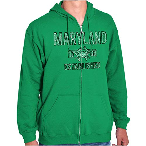 Maryland Crab Vintage Gym Workout Americana Zip Hoodie Irish Green