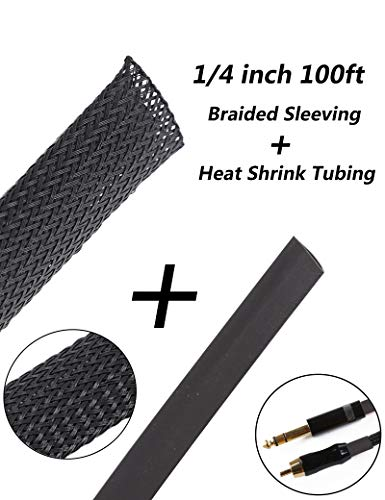 100ft 1/4 inch Expandable Wire Cable Sleeving Sheathing Braided Loom Tubing for Braided Wire Sleeve Management Cord Protector Cable sleeving + Heat Shrink Tubing Tube Cable of Black 100ft 1/4 Inch ()