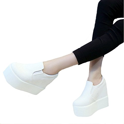 Dear Time Women High Heels Platform Wedge Shoes White Suede 5XUIsVTA