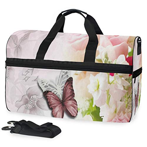 Versace Handles Bag Double - Butterfly And Flower Gym Bag with Shoes Compartment Sports Swim Travel Overnight Duffels