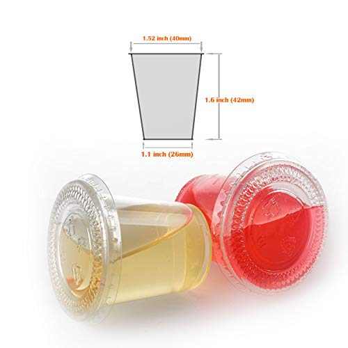 1 Ounce Apple - GOLDEN APPLE, 1-Ounce Clear Plastic Jello Shot Souffle Cups with Lids, Sampling Cup (200 Sets)