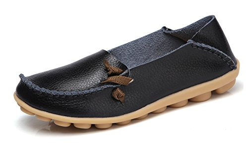 VenusCelia Women's Comfort Walking Cute Flat Loafer(8 M US,Black)