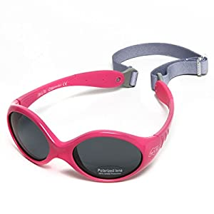Baby Girl Sunglasses With Strap 100% UV Block (S: 6-24 months, Hot Pink)