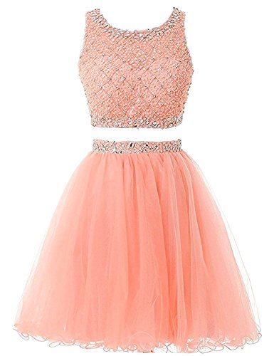 Two Gowns with Women's Pieces Orange DYS Short Party Prom Crystals Homecoming Beads Dress ORqtBH