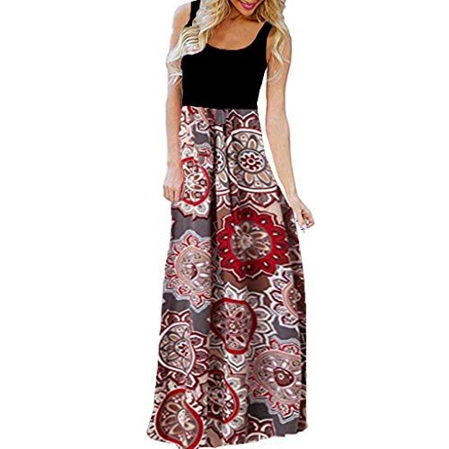 HHmei Women's Casual Sleeveless O-Neck Print Maxi Tank Long Dress - Mid Ball Skater Special High Halter Light Orange Sleeveless Sparkle Gown Tall Tea Attend Tight Tank (Red_C C)