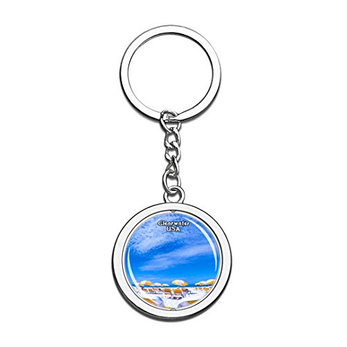 Keychain Clearwater Beach United States USA US Keychain Crystal Spinning Round Stainless Steel Keychains Souvenir Key Chain Ring]()