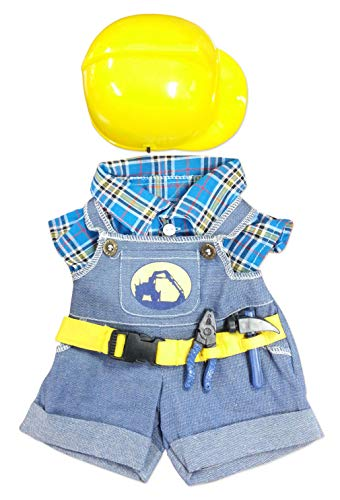 "Construction Worker with Hard Hat Teddy Bear Clothes Fits Most 14""-18"" Build-a-bear and Make Your Own Stuffed Animals  from Stuffems Toy Shop"