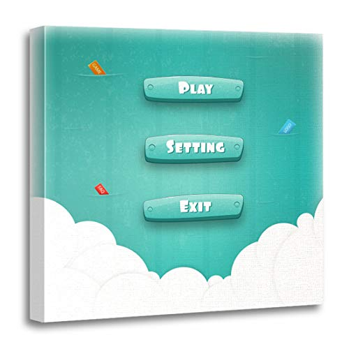 Emvency Canvas Wall Art Print Abstract Creative Interface Game Resource Bar and for Games Funny Cartoon Ui Control Panel Including Text Artwork for Home Decor 16 x 16 Inches
