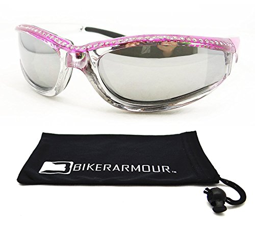 Chrome and Pink Frame Anti Glare Mirrored Motorcycle Sunglasses with Rhinestones Foam Padded for Women