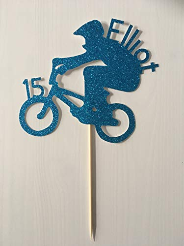(Cake Topper Bmx Bike Name&Age Foil Orglitter Cup Bike Bday Bmx Rider Topper Ass'D Colour 16Th 18Th 21St Bicycle Party Bike Topper Cardstock Glitter Paper)