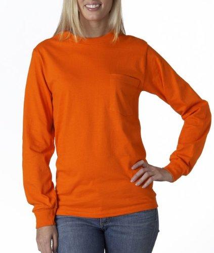 Gildan Men's Seamless Chest Pocket Comfort jersey T-Shirt, XX-Large, Safety Orange