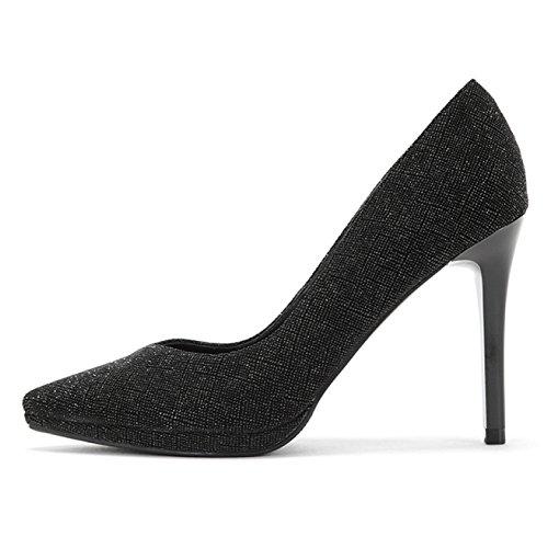 Sexy Noir De Femme UK Hauts Mariage 4 Black 5cm 10 Cour 36 Travail Mode Talons Chaussures EU HcIqS1rqw