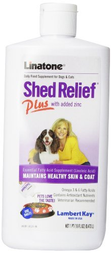 Lambert Kay Linatone Shed Relief Plus Dog and Cat Skin and Coat Liquid Supplement, 16 Ounces by Lambert (Linatone Plus Shed Relief)