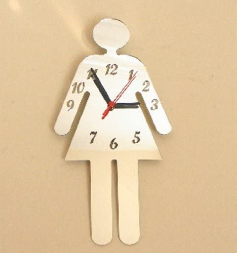 Ladies Toilet Sign Clock Mirror 30cm x 18cm