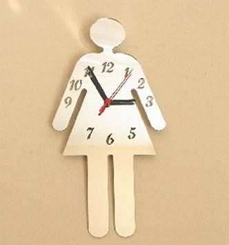Amazon.com: Señoras cartel de reloj para baño espejo de 15.7 ...