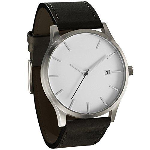 Han Shi Mens Quartz Wristwatch, Fashion Popular Low Key Minimalist connotation Leather Clock (L, White-B)