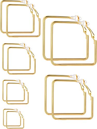 Sumind Earrings Clip On Earrings Non Piercing Earrings Set for Women and Girls, Different Sizes (Gold, Square)