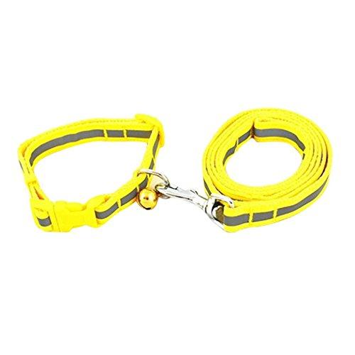 Dog Collar,Buyanputra Adjustable Reflective Dog Collar Bell Collar with Training Lead Leash (Polypropylene Pet Leash)