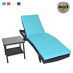 Patio Lounge Chair Outdoor Rattan Adjustable Black PE Wicker Sunbed Furniture with Cushion with Rattan Side Coffee Teatable
