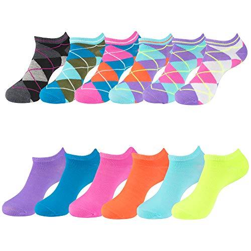 Ladies Assorted Argyle/Solid (12PK) No-Show Socks