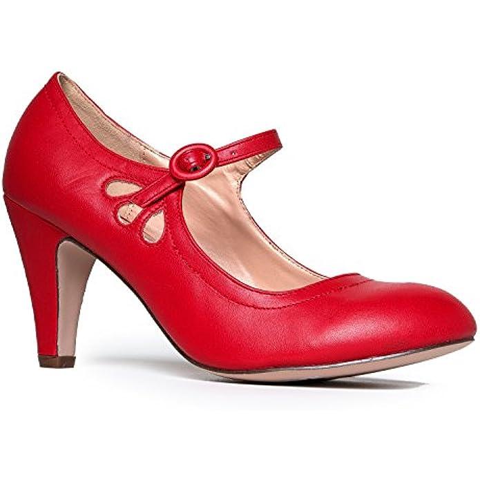 J. Adams Pixie Heels - Vintage Retro Round Toe Shoe with Ankle Strap