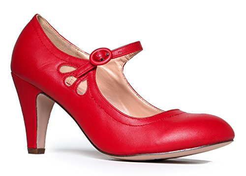 (Mary Jane Pumps - Low Kitten Heels Â- Vintage Retro Round Toe Shoe with Ankle Strap - Pixie by J. Adams)