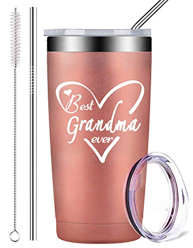 Best Grandma Ever Birthday Gifts, Stainless Steel Mug Tumbler with Lid and Straw, Insulated Travel Coffee Cup for Grandmother Her Mom Women (20 oz, Rose Gold) (Grandma 1 Mug)
