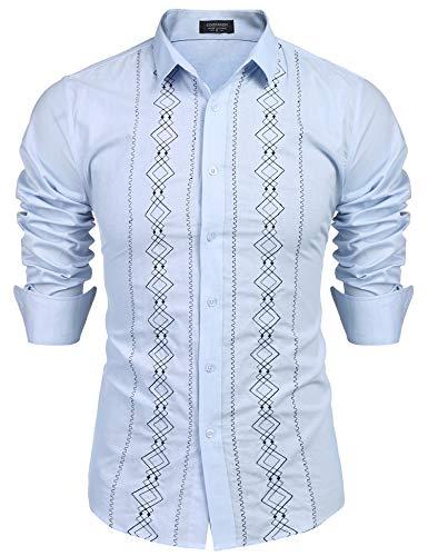 COOFANDY Men's Casual Cotton Linen Button Down Shirt Long Sleeve Embroidered Guayabera Cuban Shirts (Large, Print Blue) ()