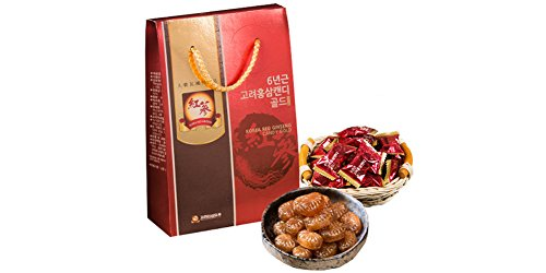 Korea RED Ginseng Candy Gold 6 Years Old/Health Food/Gift / Parents/Grand Parents/Section of Red Ginseng For Sale