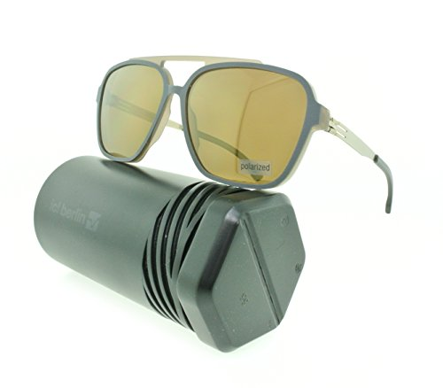 Brand New Authentic ic! berlin Sunglasses Henrik B.L. Metal Frames (Rocky Grey Rough, Dark Brown Mirrored - Ic Frame Berlin