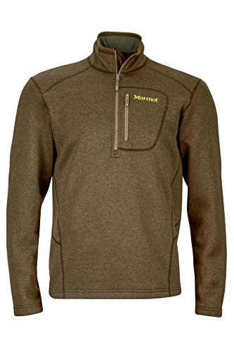 Marmot Drop Line 1/2 Zip Men's Pullover Jacket, Lightweight 100-Weight Sweater Fleece, Deep Moss (1/2 Zip Fleece Pullover)