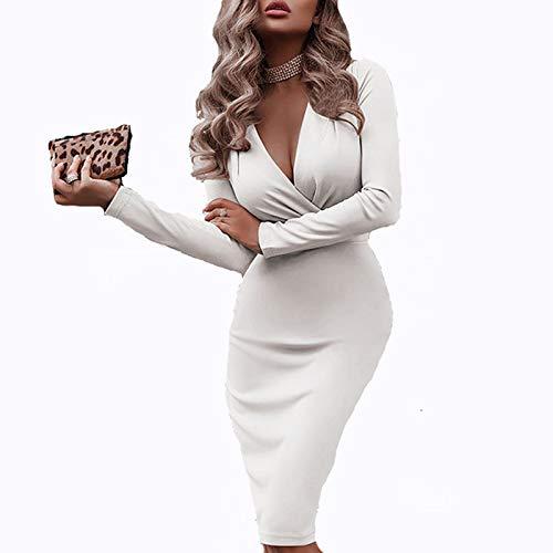 BIBOKAOKE Casual damesjurk effen V-hals jurk Elgant sexy jurk slanke midi-jurk stretch bodycon feestjurk voor kantoor…